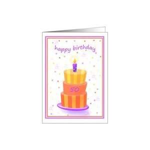 50 Years Old Happy Birthday Stacked Cake Lit Candle Card