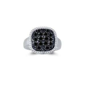 1.30 Cts Black Diamond Mens Ring in 14K White Gold 6.5
