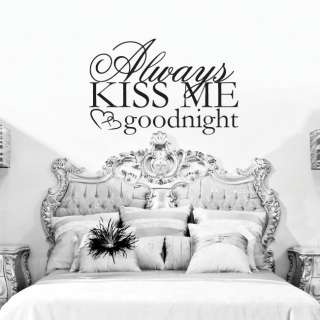 Always Kiss Me Goodnight Wall Art Vinyl Sticker Decal