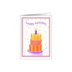 37 Years Old Happy Birthday Stacked Cake Lit Candle Card