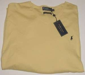 POLO RALPH LAUREN YELLOW PIMA COTTON V NECK SWEATER 5XLT TALL