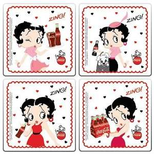 Vandor 60185 Betty Boop and Coke 4 Piece Wood Coaster Set
