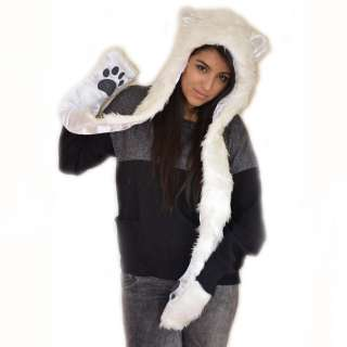 New Winter Trend Faux Fur Animal Ears Hat Snood Scarf Paws Mitten
