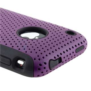 HYBRID BLACK Gel SOFT / Purple Mesh Hard Case+Privacy Guard For iPhone