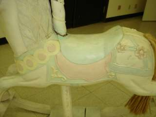 Hand Carved Painted WOODEN ROCKING HORSE Showpiece HUGE