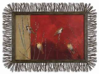 Wood Twig Branch Frame Oil Reproduction Birds Branches