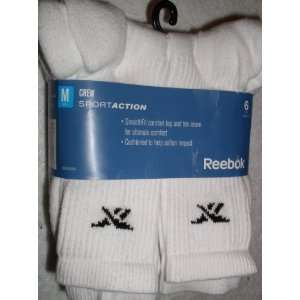 Mens Crew Socks, 6 Pair, White, Socks Size 8 12