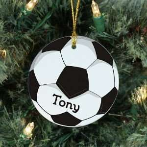 Personalized Name Soccer Ball Christmas Tree Ornament