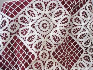 19C. ANTIQUE ART DECO HAND CROCHETED WHITE BED COVER