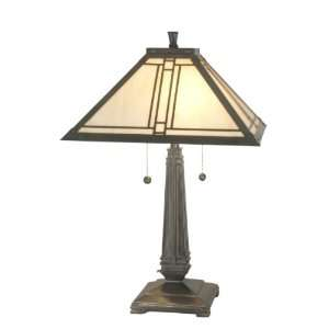 Dale Tiffany TT70735 Lined Mission Table Lamp, Antique Brass and Art