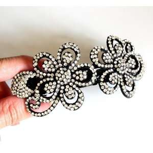 Wedding Bridal Prom Black Metal Crystal Rhinestones Hair Barrette Clip