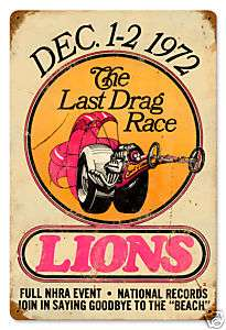 Lions Last Drag vintage looking drag racing metal sign
