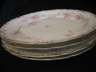 Haviland 248R Pink w/Gold ForgetMeNot Lunch Plate Set 4