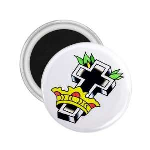 Tattoo Cross King Art Fridge Souvenir Magnet 2.25