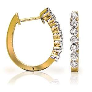14k Yellow Gold Diamond Hoop Earrings (1/4 cttw, H I Color