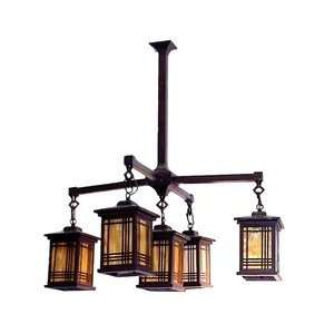 Dale Tiffany 2604/5LMH 5 Light Avery Lantern, Antique Bronze and Glass