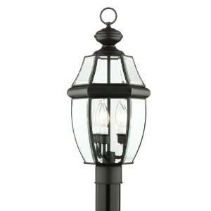 Three Light Traditionally Styled Outdoor Post Lantern, Painted Bronze