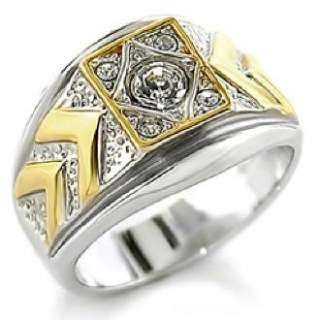 Big New Austrian Crystal Two Tone Mens Ring Size 8