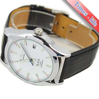 White Dial Date Automatic Mechanical Wrist Watch Leather Mens Fashion