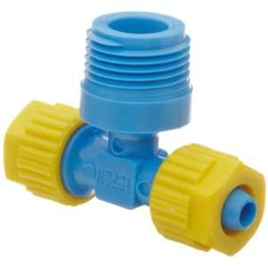 Compression Tube Fitting, Tee Adapter, Yellow/Blue, 5/16 Tube