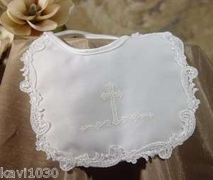 Baby Girls White Christening Baptism Bib Satin Cross