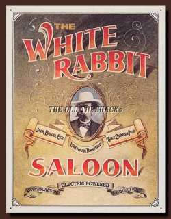 Nostalgic Tin Metal Sign   Jack Daniels Whiskey Western White Rabbit