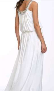 388 BCBG WHITE BEADED SLEEVELESS LONG DRESS GOWN NWT XXS