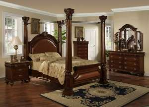Four Post King Canopy Bed Bedroom Set Marble Tops