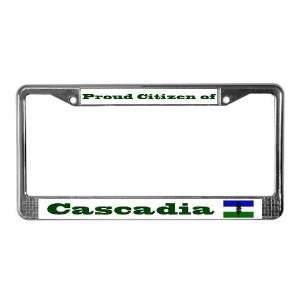Proud Citizen of Cascadia License Frame   White Oregon License Plate