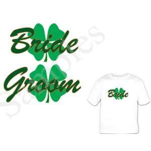 Custom Personalized Bride/ Groom shirts four leaf clover Great Bridal