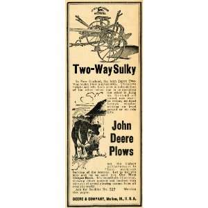 John Deere Plow Farming Equipment   Original Print Ad