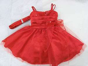 new baby girl christmas pageant birthday RED dress w hair band 3m 6m