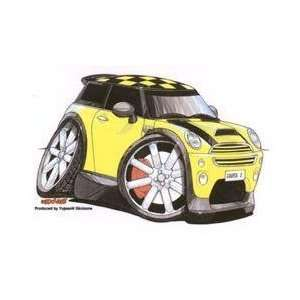 Yellow Mini Cooper S Car   Sticker / Decal Arts, Crafts