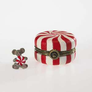 Boyds Bears 1E Sugars Peppermint Candy Treasure Box w/Mintley