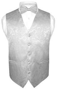 Mens SILVER Paisley Design Dress Vest BowTie Bow Tie