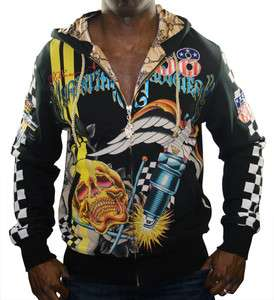 CHRISTIAN AUDIGIER Ed Hardy Racer Multi Print Hooded Mens Hoodie