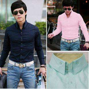 2011 Mens Slim Fit Luxury Dress Shirts Pink Blue white