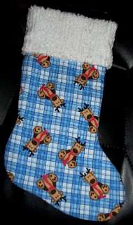 Handmade Christmas Stocking ~ Reindeers on Blue Plaid