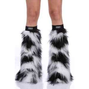 Cow Black & White Faux Fur Fuzzy Furry Legwarmers Boot