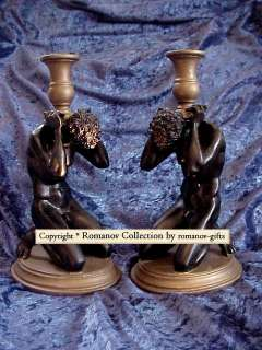 Pair of Male French Art Deco style Statue CANDLESTICKS