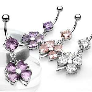 Clover] Belly Ring Dangle with Pink Cubic Zirconia   14G   3/8 Bar