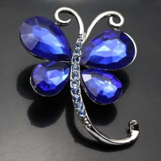 Blue Beautiful Rhinestone Crystal Brooch Pin XZ202