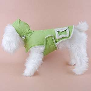 Dog Puppy Warm Hoodie Sleeveless Coat Vest Clothes Apparel Green(S