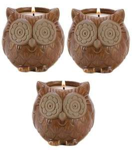 Set of 3 Aspen Owl Candle Holder Evergreen Scented Candles Wedding