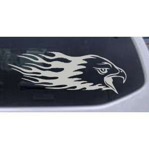 Silver 32in X 11.3in    Flaming Eagle Head Car Window Wall