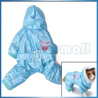 Pet Dog Blue Hoodie Hooded Coat Jacket Jumpsuit Clothing w/ Waist Belt