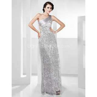 Sexy Stunning One Shoulder Sequined Long Prom Party Gown Evening Dress