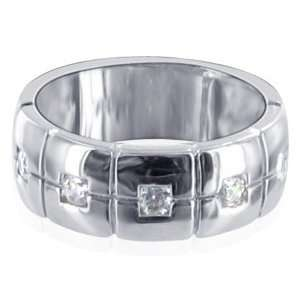 Sterling Silver Clear Cubic Zirconia Wedding Band Ring Size 8 Jewelry