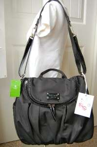 NEW Kate Spade Randi Black Nylon Baby Diaper Bag & All Extras