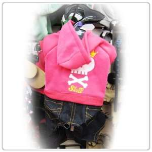 Pet Dog Clothing Cute One Piece Pink Shirt and Jeans Small